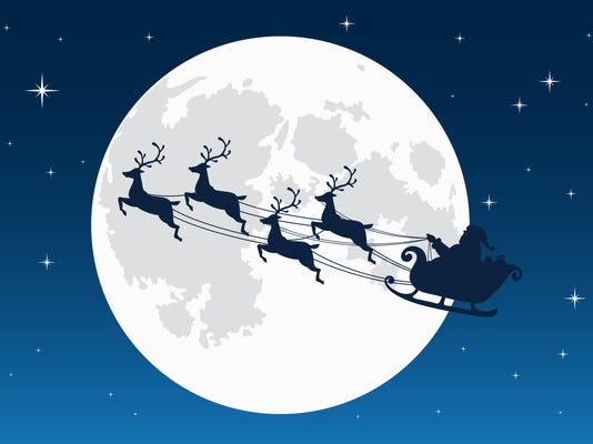 Santa Claus flying with reindeer sleigh. Dark Silhouette. Full moon and stars on the background. Symbol of Christmas and New Year. Vector illustration. Cartoon style