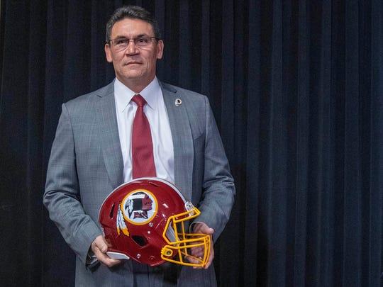 Jan 2, 2020; Ashburn, VA, USA; Ron Rivera speaks during his introductory press conference at Inova Sports Performance Center. Mandatory Credit: Brad Mills-USA TODAY Sports