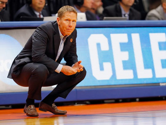 Gonzaga coach Mark Few looks on in the first half against