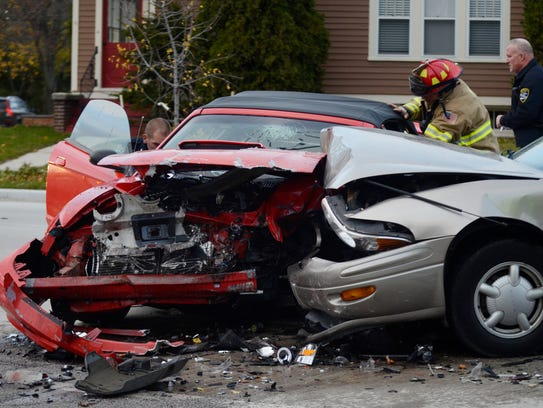 A two-car accident happened at the intersection of