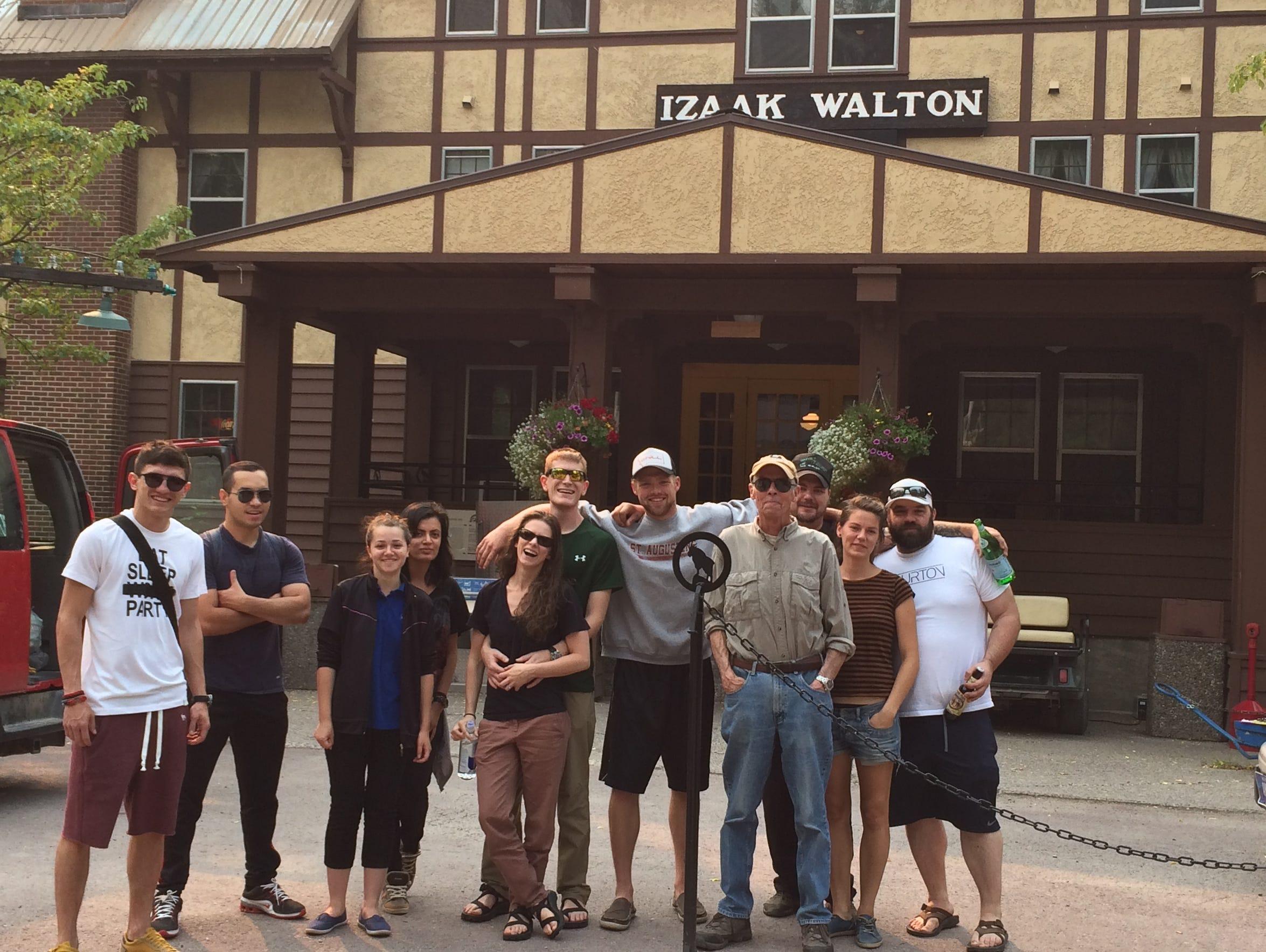 Izaak Walton Inn staff poses for a photo before leaving