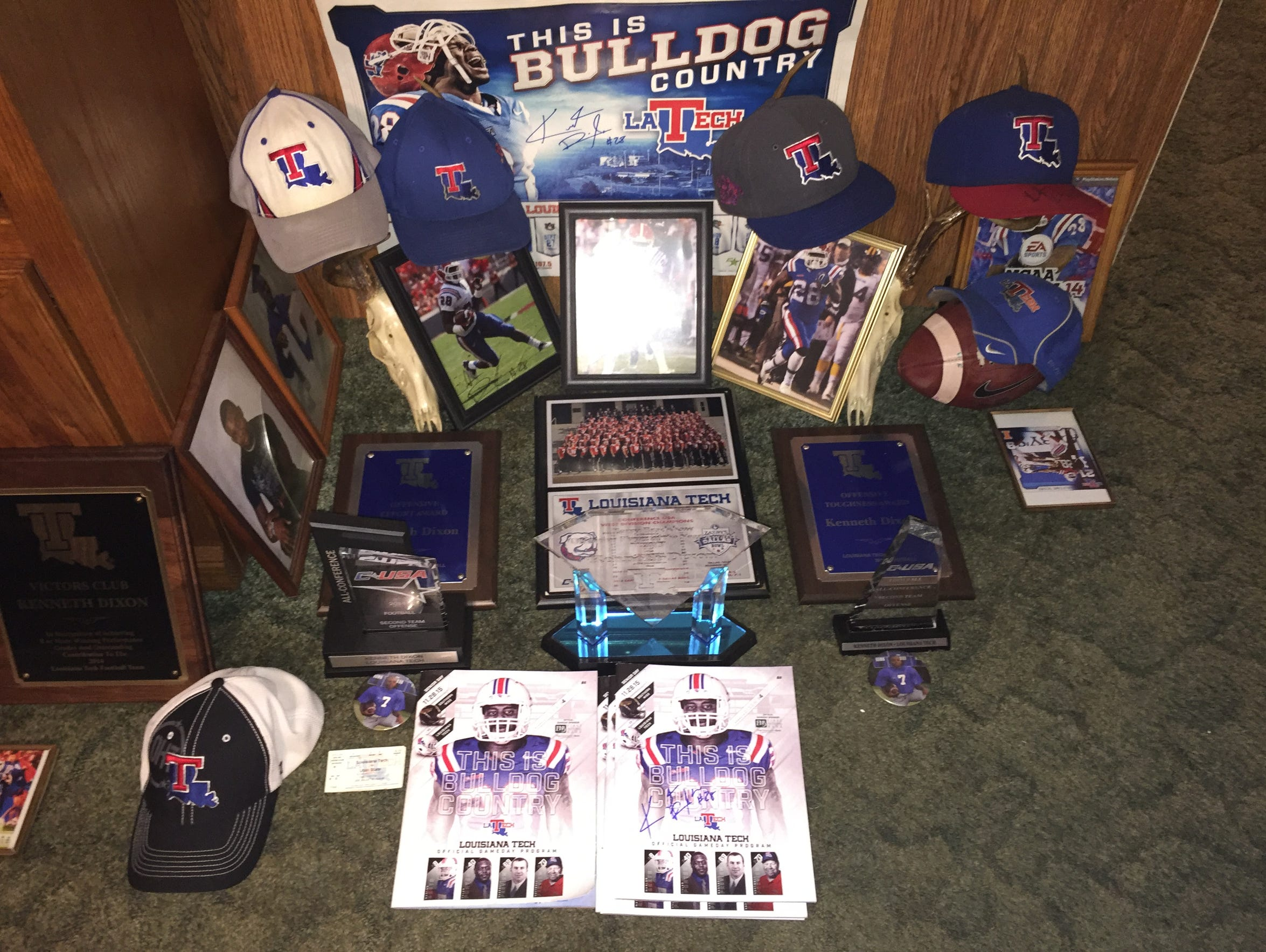 A shrine of Kenneth Dixon's accomplishments are on