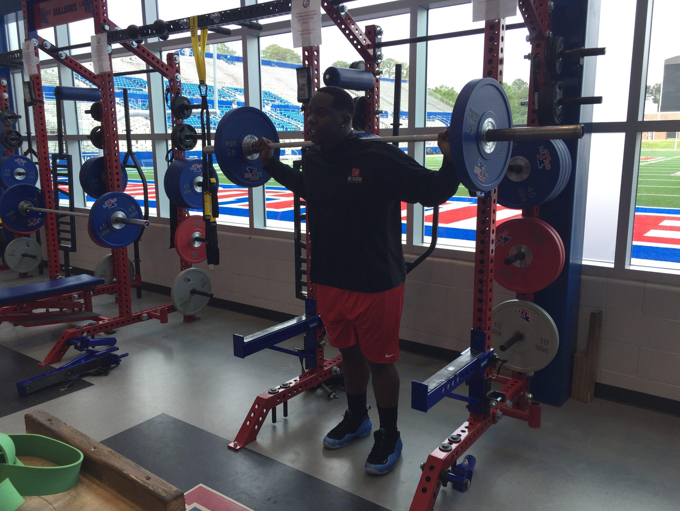 Vernon Butler works out Thursday at Louisiana Tech