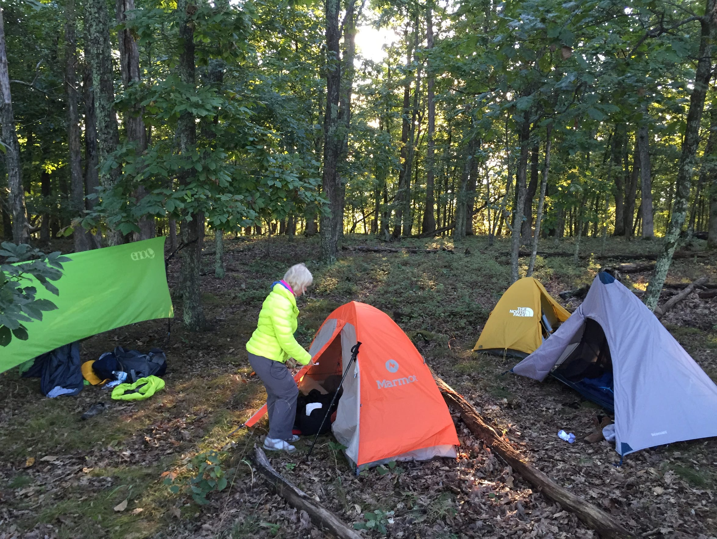 We pitched tents and a hammock in the woods after learning