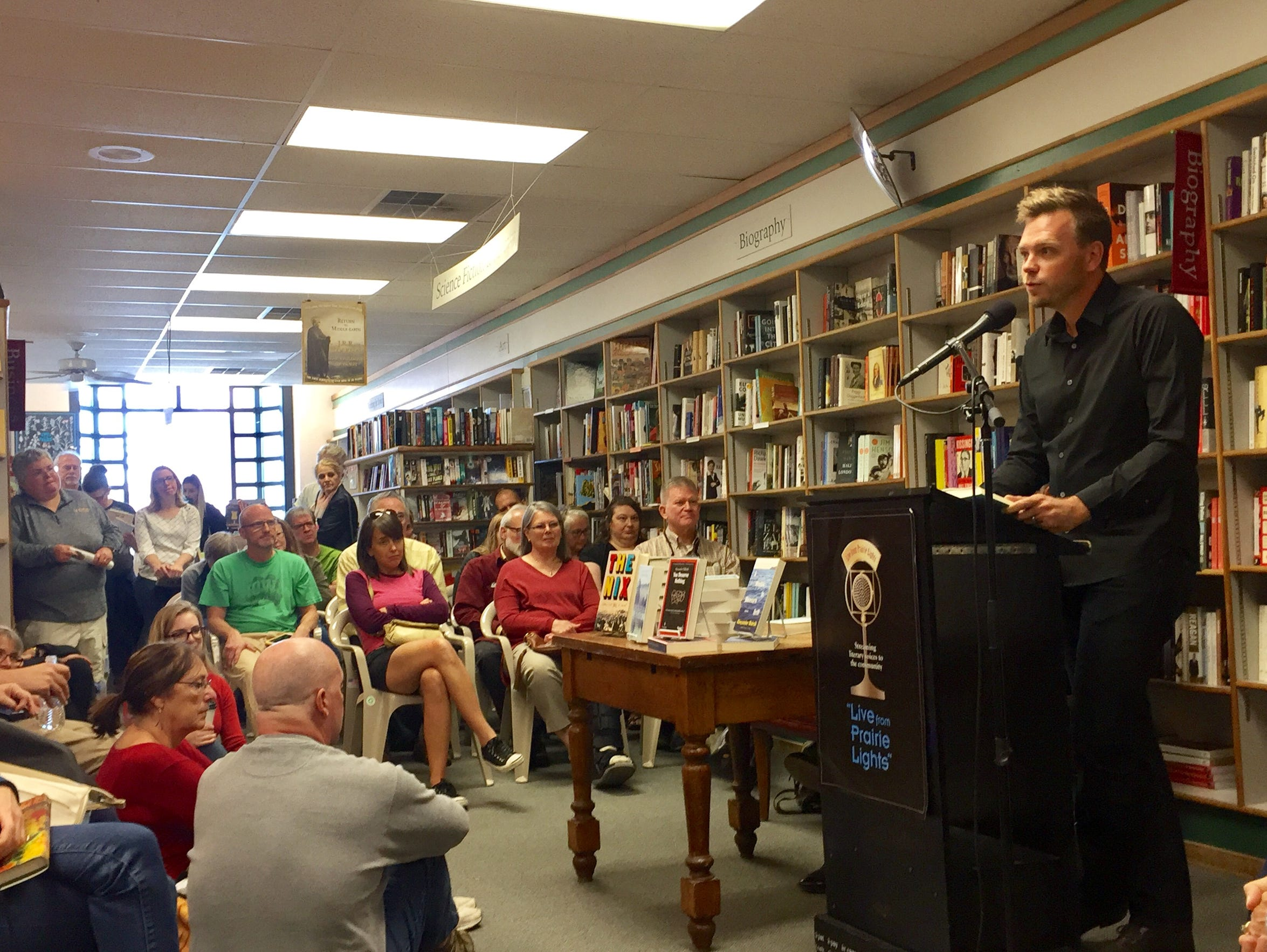 "Author Nathan Hill reads from his novel ""The Nix"" at"