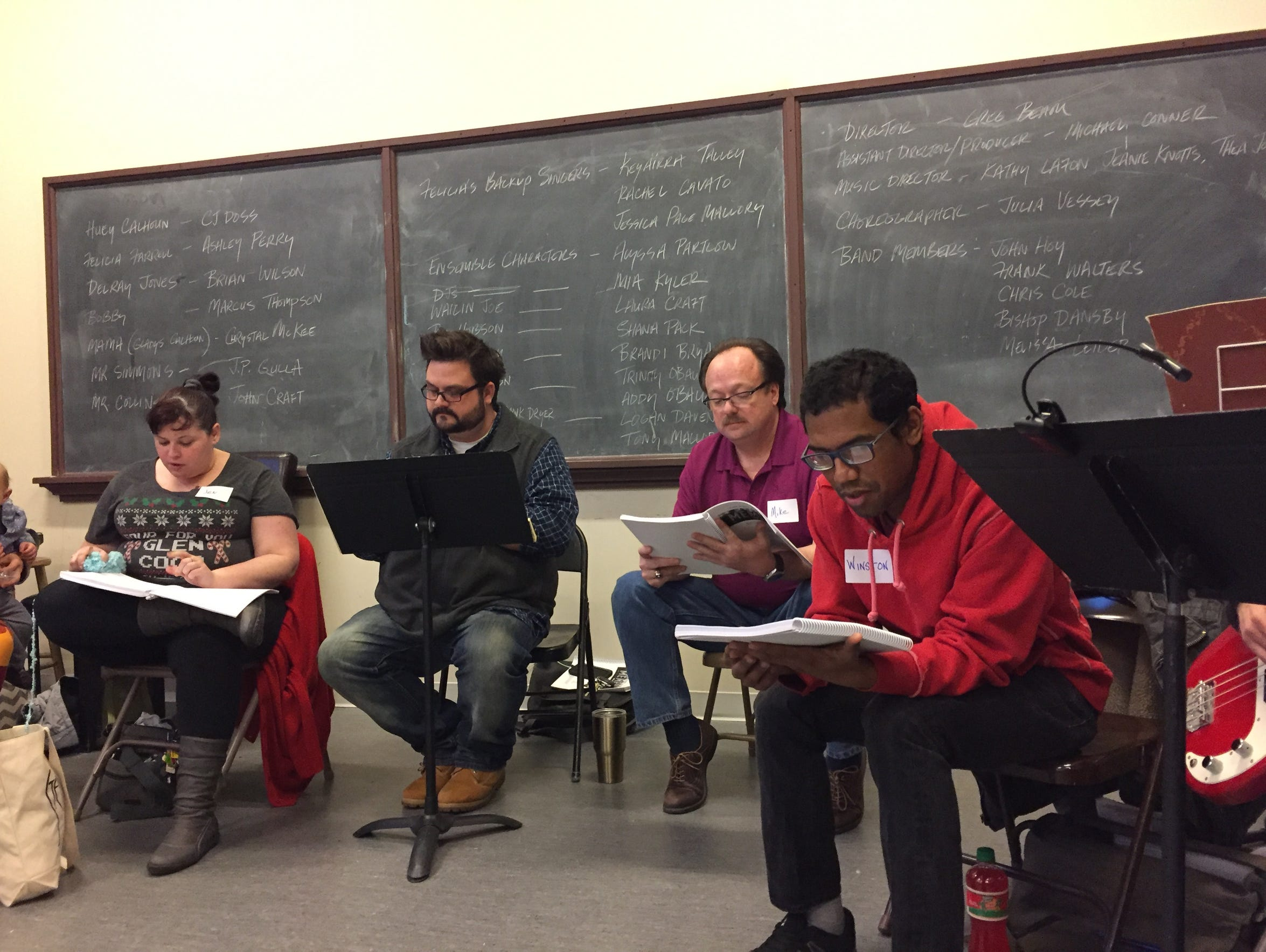 """The cast of """"Memphis,"""" led by Director Greg Beam, read"""