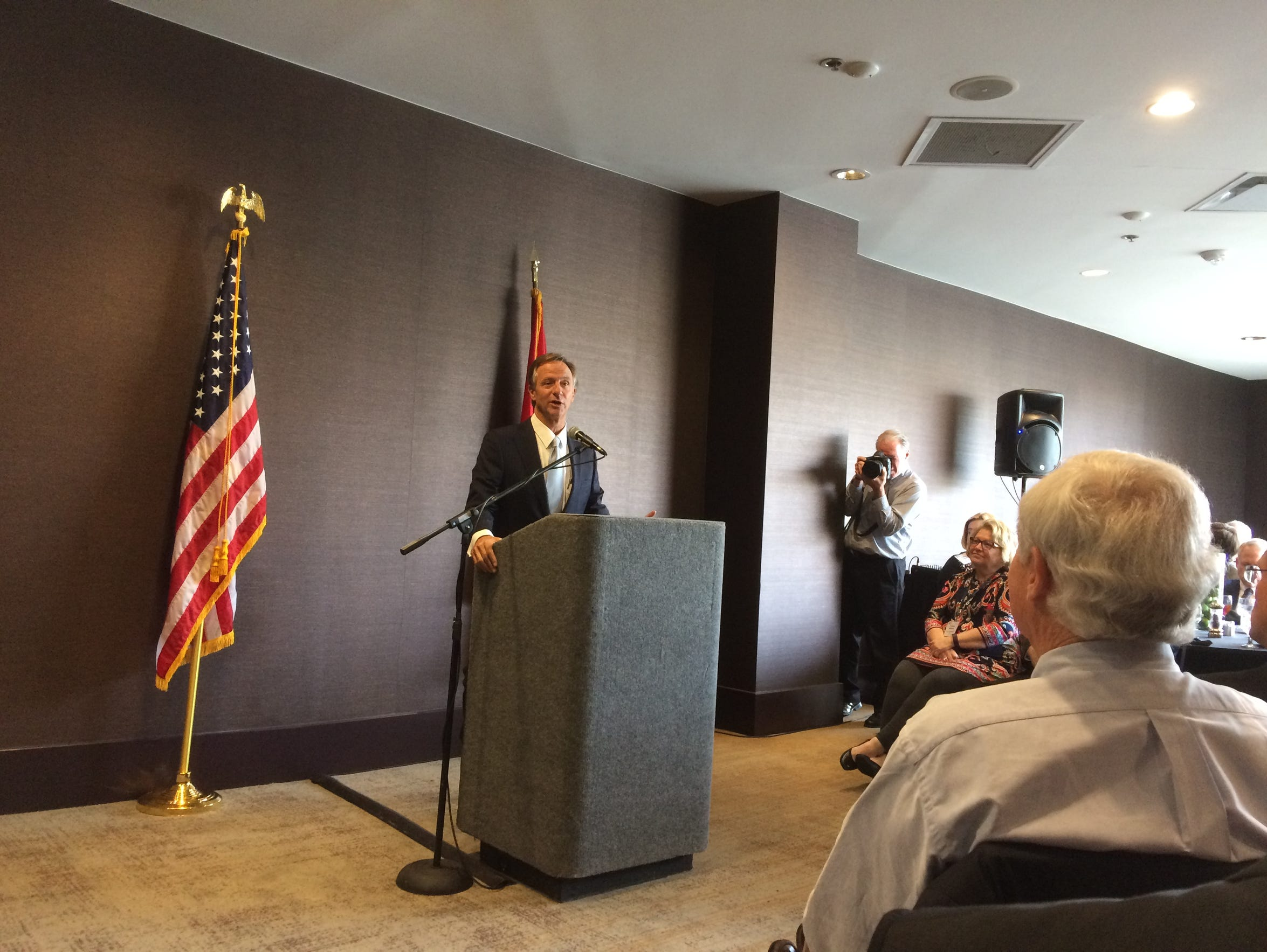 Gov. Bill Haslam answers journalists' questions at