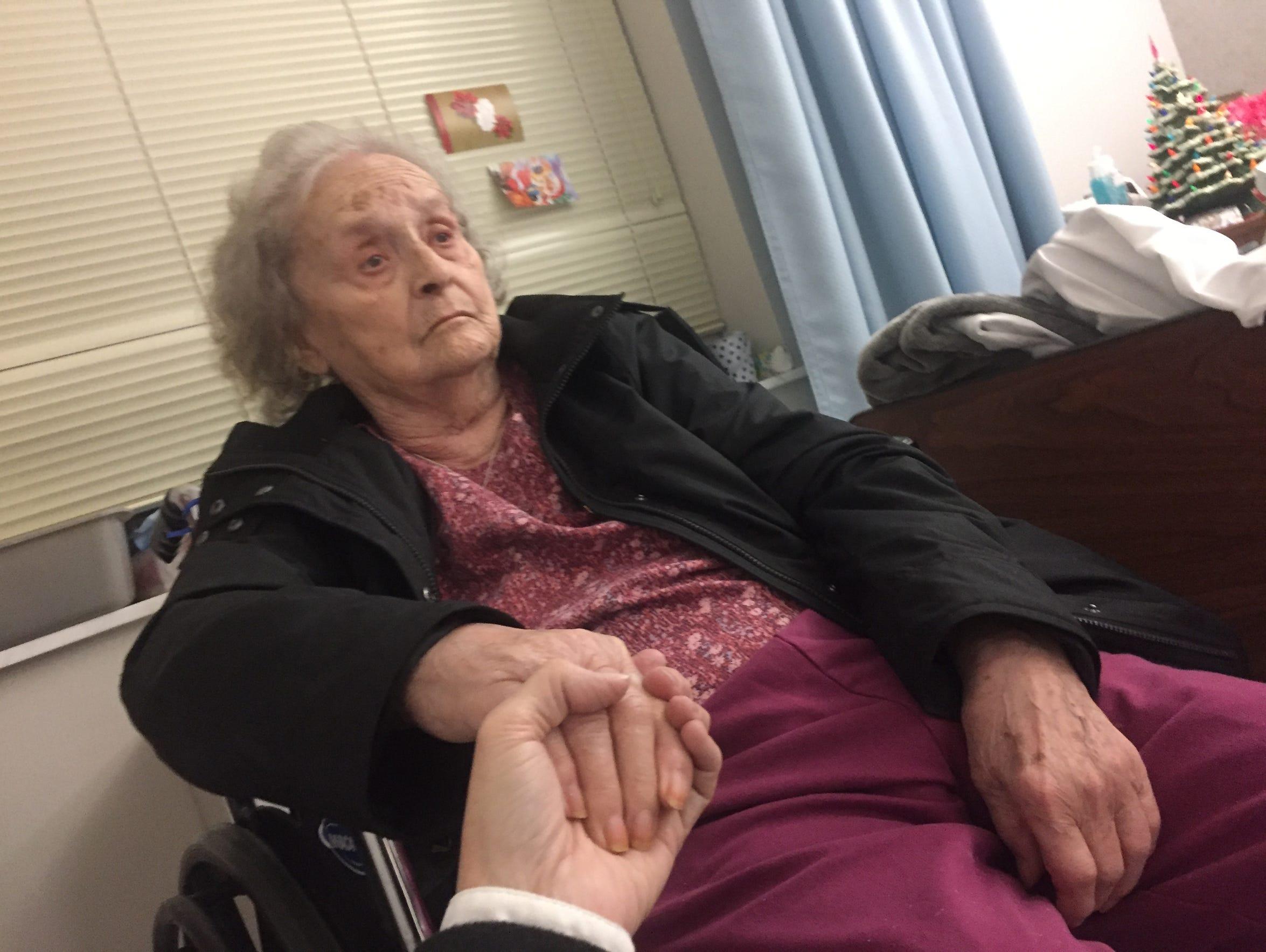 Dementia patient Helen Harney stares straight ahead