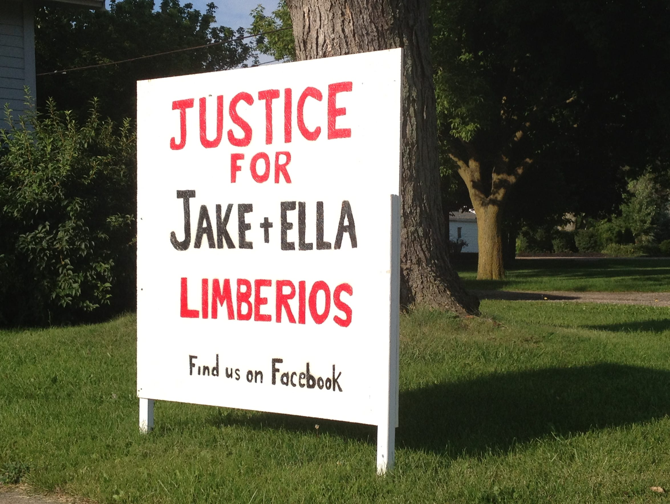 Justice for Jake and Ella signs around Port Clinton