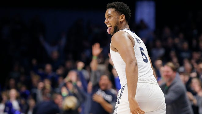 Xavier Musketeers guard Trevon Bluiett (5) celebrates as he gets back on defense after his game-winning shot in the final seconds of the second half of the NCAA basketball game between the Xavier Musketeers and the East Tennessee State Buccaneers at the Cintas Center in Cincinnati on Saturday, Dec. 16, 2017. The Musketeers fought back from a deep deficit in the second half to win 68-66.