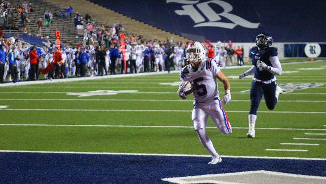 Louisiana Tech wide receiver Trent Taylor races for a touchdown last week against Rice. The junior from Shreveport cracked the 1,000-yard mark in nine games.
