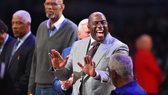 Former Los Angeles Laker star Magic Johnson is recognized during the 2018 NBA All Star Game at Staples Center.