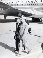 President John F. Kennedy and Mayor Frank Bogert at Palm Springs Municipal Airport c.1961.