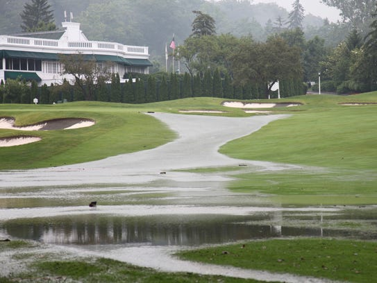 The historic Greenbrier golf courses have been flooded.
