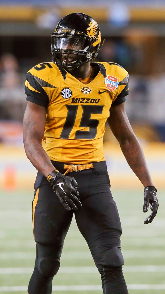 Missouri Tigers wide receiver Dorial Green-Beckham (15) during the game against the Oklahoma State Cowboys in the 2014 Cotton Bowl at AT&T Stadium. Missouri won 41-31.