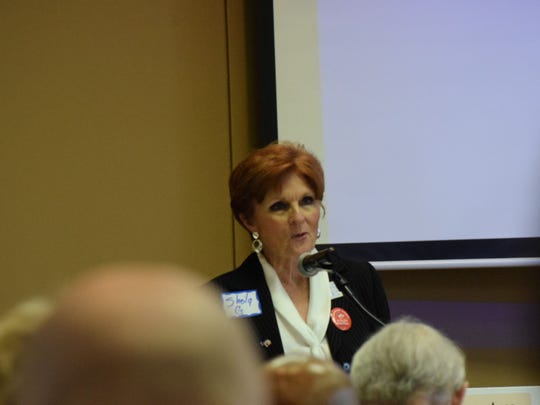 Sheila Gilbert, director of the Alabama Democratic Reform Caucus, speaks at a training event in Montgomery on March 17, 2018.