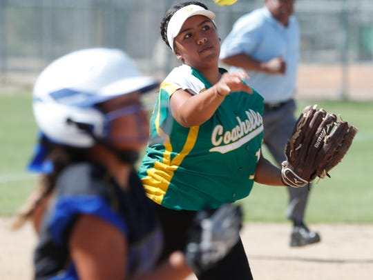 Coachella Valley High School's Kamryn Flores throws