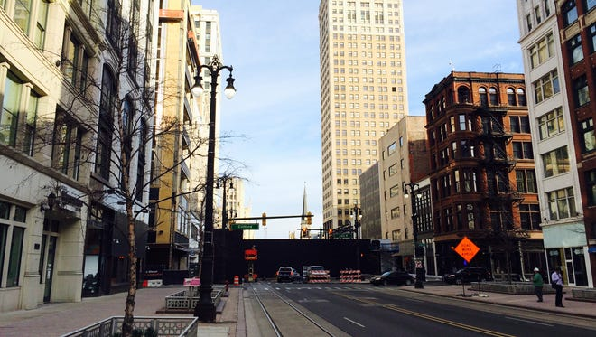 Woodward Avenue through downtown Detroit is closed at John R on Thursday ahead of the private grand-opening event for the John Varvatos fashion store.