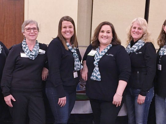 Greenstone Farm Credit Services staff (FWS largest sponsor) from left: Emelee Rajzer, Ursula Bartsch, Ashlee Guerrero, Wanda Skinner, Kimberly Nelson, and Amy Noonan.