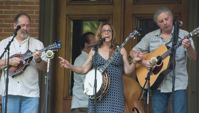 Members of Fossil Creek Band, from left, Tom Galbraith, Jan Hudson, and Dave Borkowski. The bluegrass band will play the first concert in the 2018 Verandah Concert Series on Wednesday at the Hayes Presidential Library and Museums.