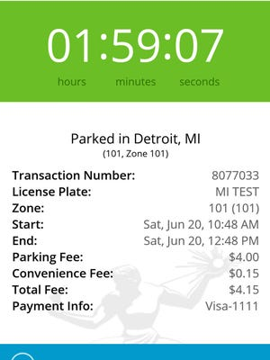 Screenshot from Detroit's new mobile app, ParkDetroit