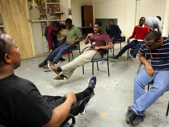 Instructor Joseph Smart leads an exercise class during the Rose Simon after-school program for developmentally disabled youths at the Mount Vernon Armory, March 22, 2017.