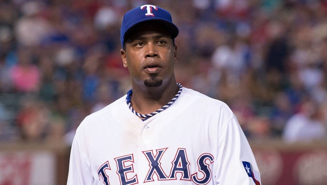 Texas Rangers starting pitcher Jerome Williams (44) during a game July 25 against the Oakland Athletics at Globe Life Park in Arlington. The Rangers defeated the Athletics 4-1. Credit: Jerome Miron-USA TODAY Sports