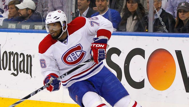 Montreal Canadiens defenseman P.K. Subban (76) handles the puck during the second period against the New York Rangers in game six of the Eastern Conference Final of the 2014 Stanley Cup Playoffs.