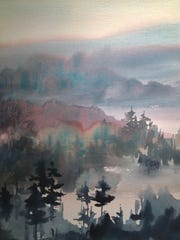 """Midnight Pines"" by Betsy Jacaruso is part of the ""Winter Salon"" exhibit at the Betsy Jacaruso Gallery in Rhinebeck through March."
