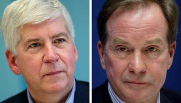 Michigan Gov. Rick Snyder, left, and Attorney General Bill Schuette