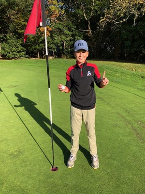 Bishop Stang's Kyle Farias recorded a hole-in-one during Monday's practice.
