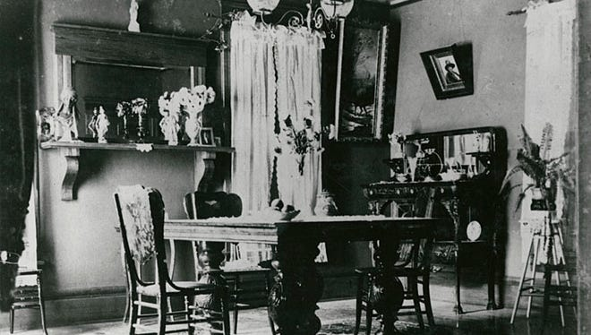 This 1890 photograph shows thedining room of the Robertson home at 515 Broad St. in Menasha.