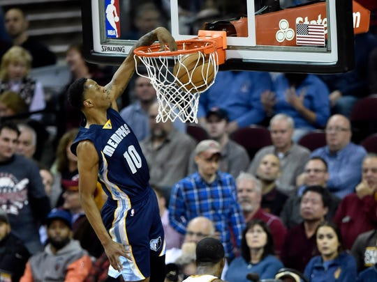 Dec 13, 2016; Cleveland, OH, USA; Memphis Grizzlies forward Troy Williams (10) dunks against the Cleveland Cavaliers in the third quarter at Quicken Loans Arena. Mandatory Credit: David Richard-USA TODAY Sports