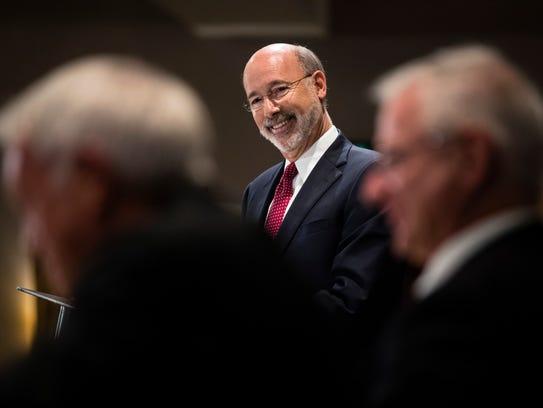 Pennsylvania Gov. Tom Wolf takes questions at a Pennsylvania