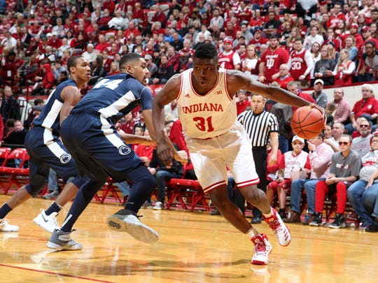 Rochester native Thomas Bryant (31) is averaging 13.2 points and 7.1 rebounds as a sophomore this season for the Hoosiers, who are only 15-8 overall, 5-5 in the Big Ten.