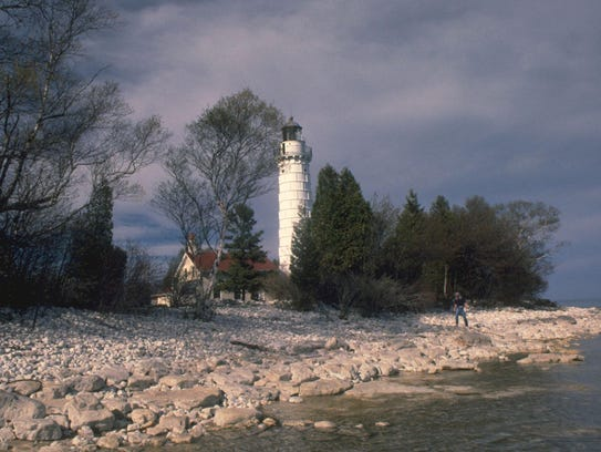 The Cana Island Lighthouse, off the shore of Baileys