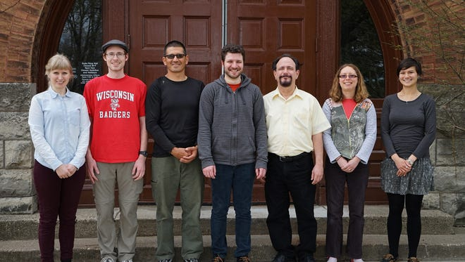 Nutrient Recovery and Upcycling LLC (NRU) team and the Barak Lab at King Hall, UW-Madison. Pictured (from left) are Hannah Stern, Tyler Anderson, Mauricio Avila, Menachem Tabanpour, Phillip Barak, Christy Davidson, Nimi Ehr.