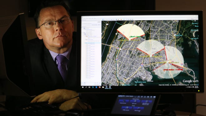 """Jerry Grant with data he generated from a cell phone in a New York City murder case. Grant has testified recently in both the Boston Marathon trial and hearing of  """"Serial"""" defendant."""