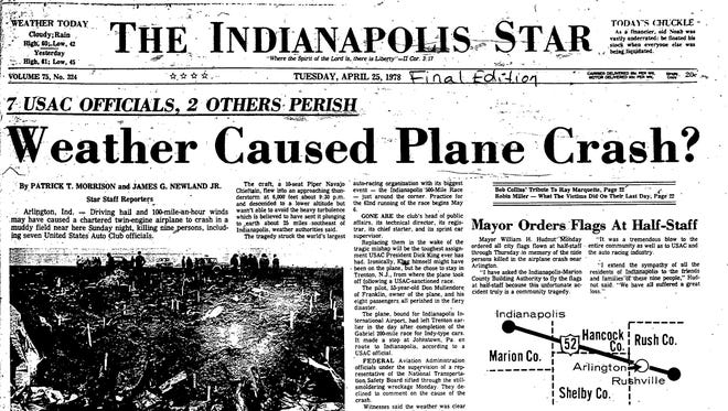 Indianapolis Star, April 25, 1978 front page
