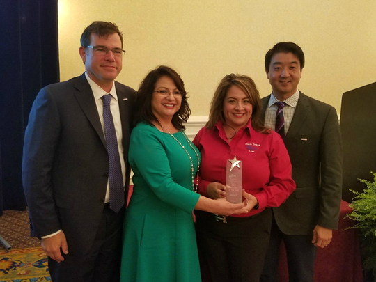 From left, Greg Lasky, general manager of purchasing for Toyota; Rosa Santana, CEO of Forma Automotive; Lisa Navarro-Gonzales, Forma general manager; and Aaron Emi, analyst for Toyota Supplier Diversity.
