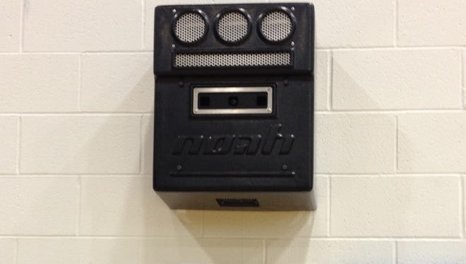 Noah Basketball - the black box on the wall of Xavier's auxiliary gym - measures basketball players' shooting arcs. The university added the tool this summer.