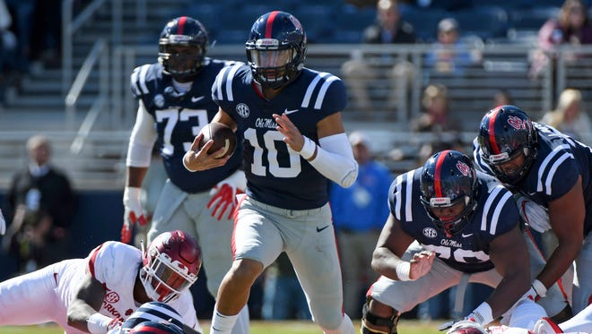 Quarterback Jordan Ta'amu (10) will make his second consecutive start for Ole Miss, which is a 3.5-point underdog to Kentucky Saturday.