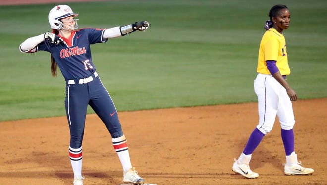 Kylan Becker (15) drove in two runs and scored another in Ole Miss' SEC title victory against LSU.