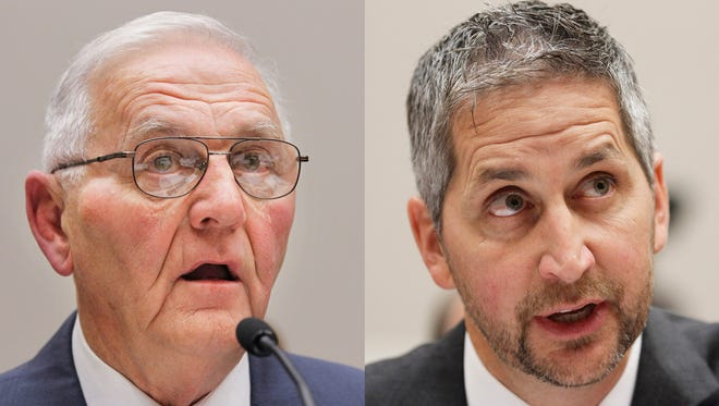 """This Sept. 22, 2010 combination of file photos shows Quality Egg LLC owner Austin """"Jack"""" DeCoster, left, and its chief operating officer, Peter DeCoster on Capitol Hill in Washington."""