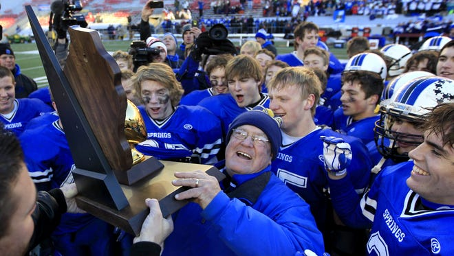 St. Mary's Springs celebrates their 2014 championship.