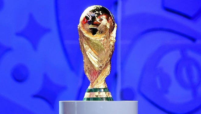 The FIFA World Cup Trophy on display.