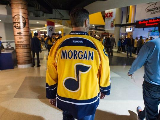 Dennis K. Morgan wears his custom jersey before singing the national anthem at a Nashville Predators game at Bridgestone Arena on Jan. 12, 2017.