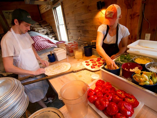 Pizza being made at American Flatbread in Waitsfield.