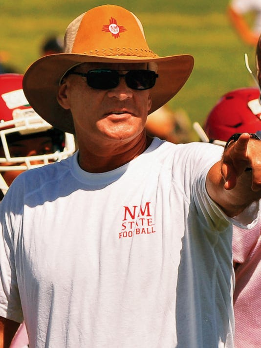 Jaime Guzman/For the Sun-News   New Mexico State head football coach Doug Martin began his third year with the first official day of practice on Wednesday at the NMSU practice field.