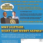 A postcard sent out by the Minnehaha County Republican Party attacking Mayor Mike Huether.